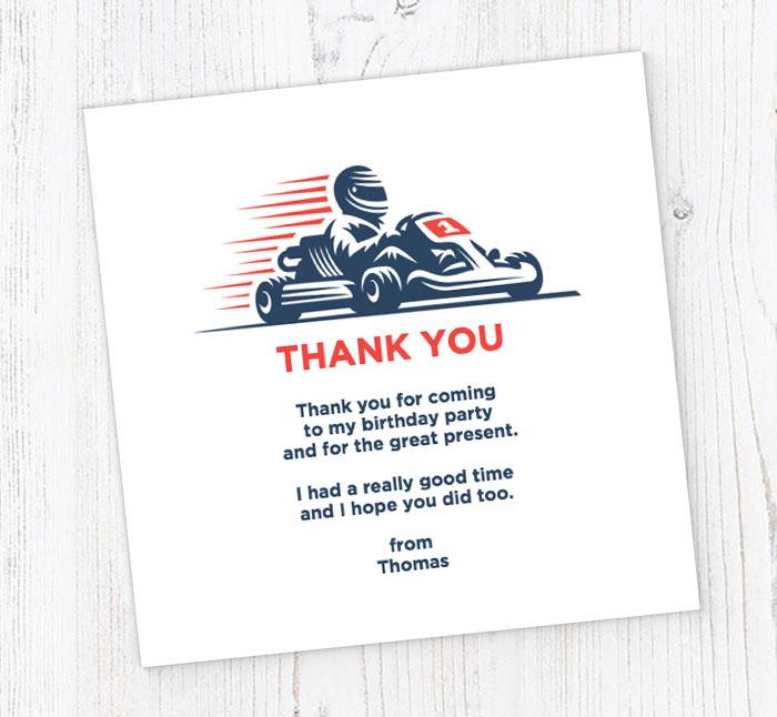 Go Kart Racer Thank You Cards Customise Online Plus Free Envelopes
