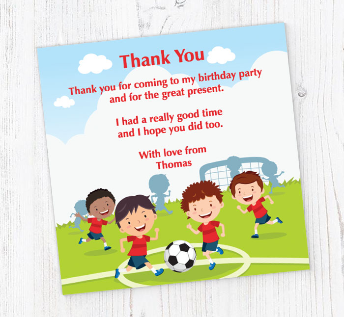 Childrens Football Thank You Cards
