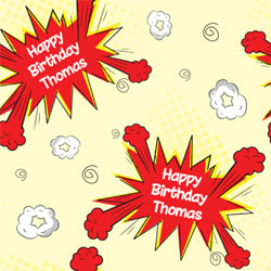 comic burst wrapping paper