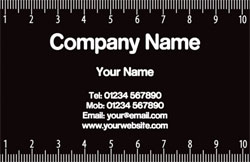 black and white ruler business cards