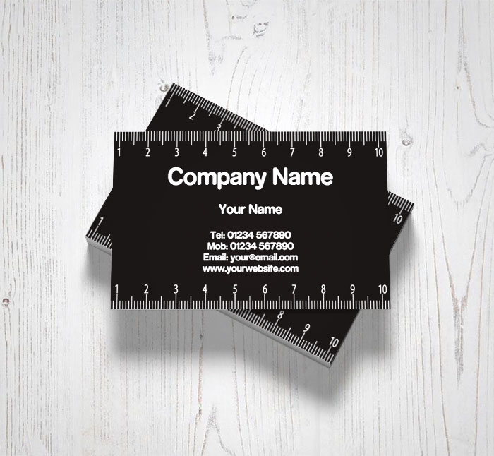 black and white ruler business cards customise online plus free