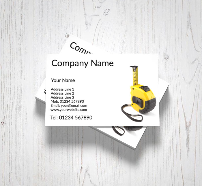 Yellow tape measure business cards customise online plus free yellow tape measure business cards reheart Image collections