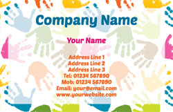 colourful handprints business cards