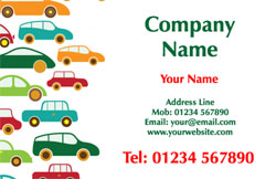 multi coloured cars business cards