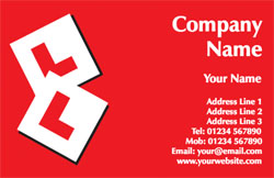 red L plate business cards