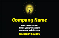 glowing light bulb business cards
