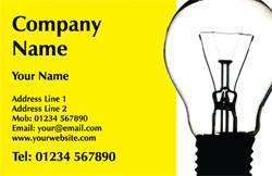 yellow light bulb business cards