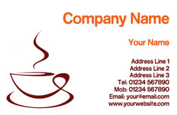 steaming coffee cup business cards