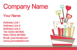 hearts and striped cake business cards