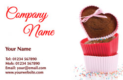 heart cupcakes business cards