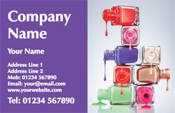 bottles of nail varnish business cards