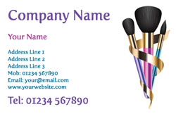 three makeup brushes business cards