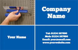 blue plastering business cards