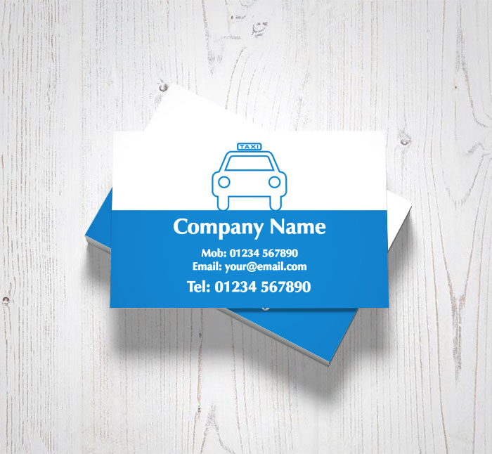 blue outline taxi business cards