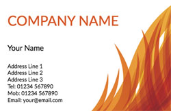 flaming orange business cards