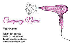 purple hairdryer business cards