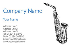 sketched saxophone business cards