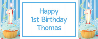 1st birthday blue cupcake party banner