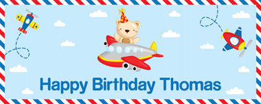 teddy bear flying party banner