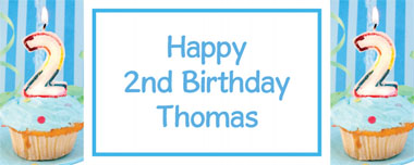 2nd birthday blue cupcake party banner