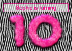 pink furry 10th party invitations