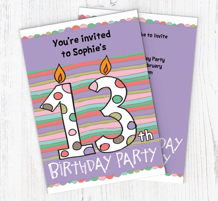 13th Birthday Candle Party Invitations | Customise Online Plus Free Envelopes and Free Delivery | Putty Print