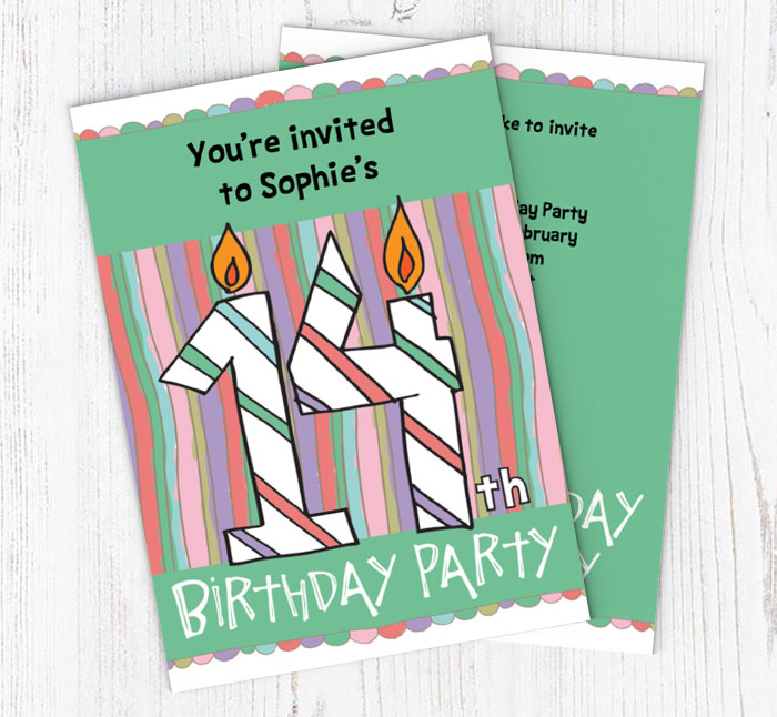 14th birthday candle party invitations customise online plus free