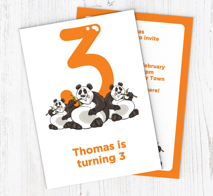 Pandas 3rd Birthday Party Invitations