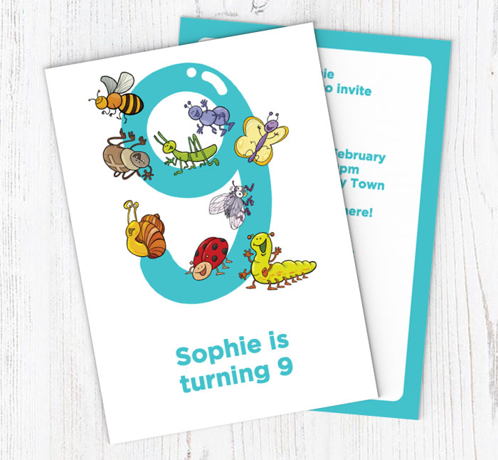 Insects 9th Birthday Party Invitations