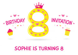 8th princess birthday party invitations