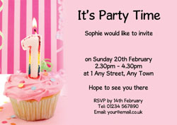 1st birthday pink cupcake invitations