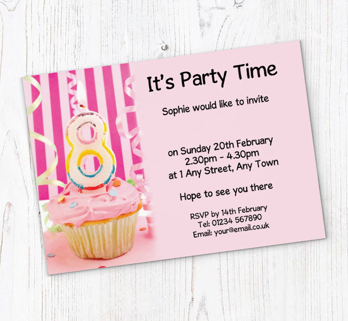 8th birthday pink cupcake party invitations customise online plus