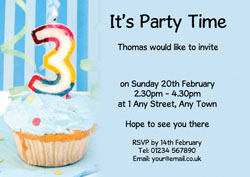 3rd birthday blue cupcake invitations