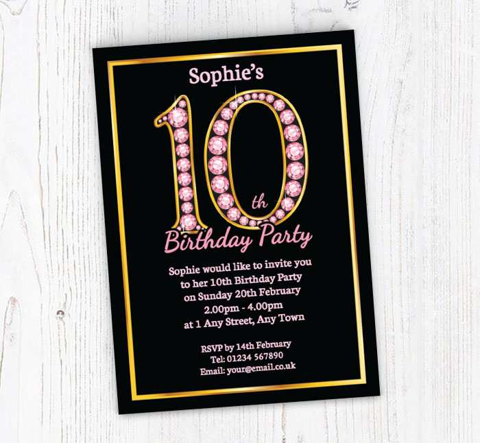 Pink Diamonds 10th Birthday Invitations