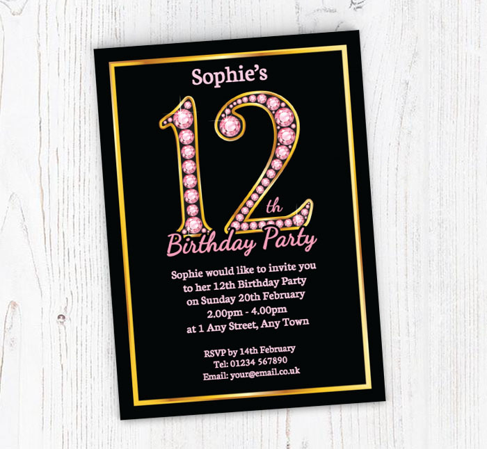 Pink diamonds 12th birthday party invitations customise online pink diamonds 12th birthday invitations filmwisefo