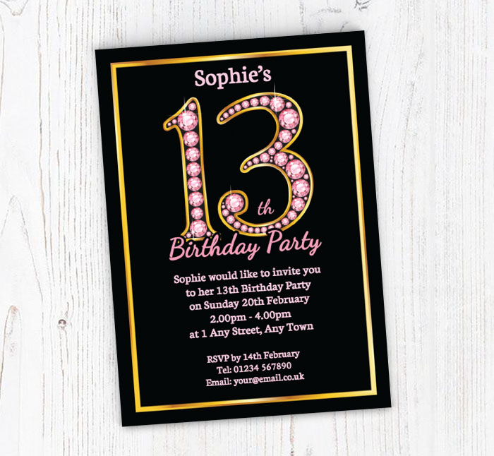 Pink Diamonds 13th Birthday Party Invitations | Customise Online Plus Free Envelopes and Free Delivery | Putty Print