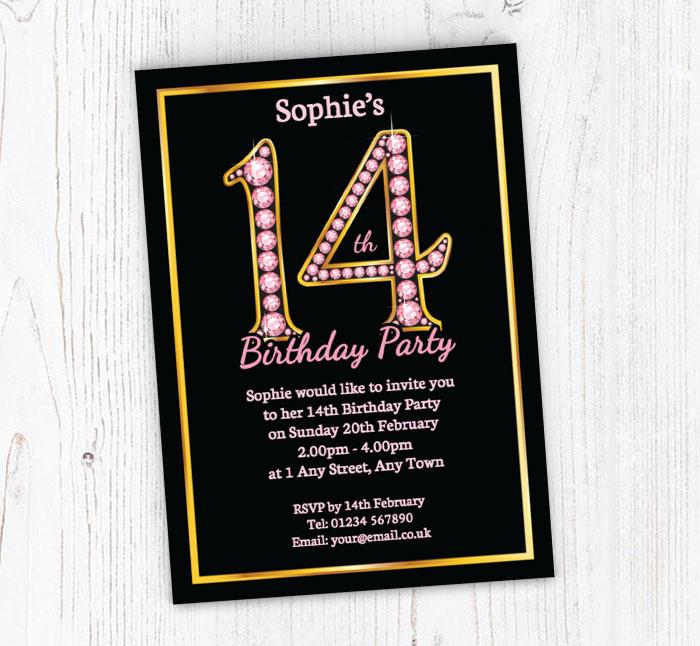 Pink Diamonds 14th Birthday Invitations