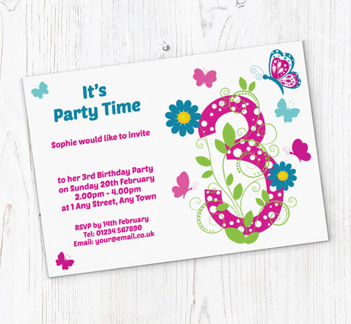 Butterfly 3rd Birthday Party Invitations