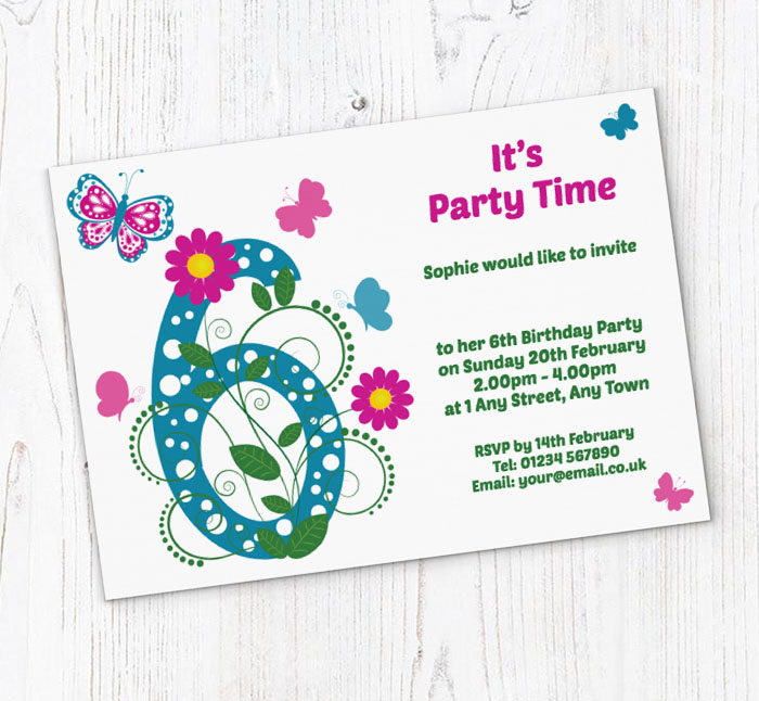 Butterfly 6th Birthday Party Invitations