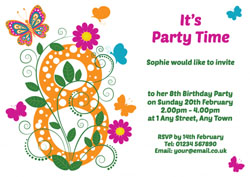 butterfly 8th birthday party invitations