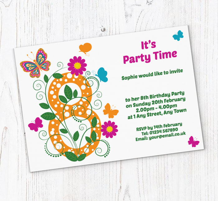 Butterfly 8th birthday party invitations customise online plus butterfly 8th birthday party invitations filmwisefo