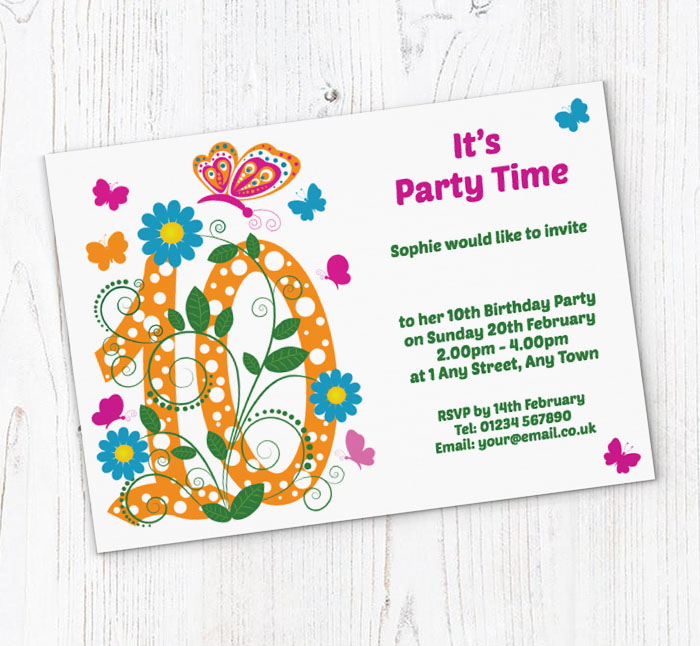 Butterfly 10th Birthday Party Invitations