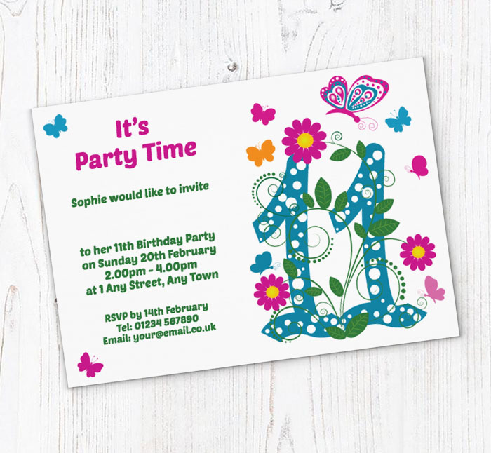 Butterfly 11th Birthday Party Invitations