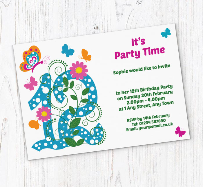 Butterfly 12th Birthday Party Invitations
