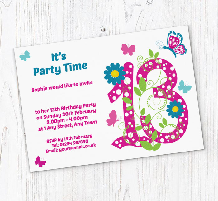 Butterfly 13th Birthday Party Invitations