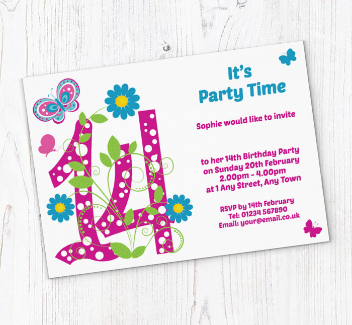 Butterfly 14th Birthday Party Invitations