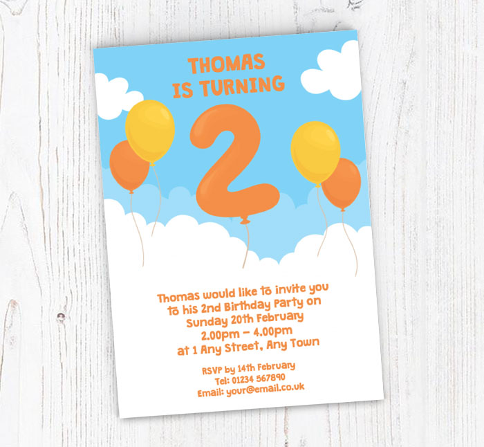 2nd Birthday Balloon Party Invitations