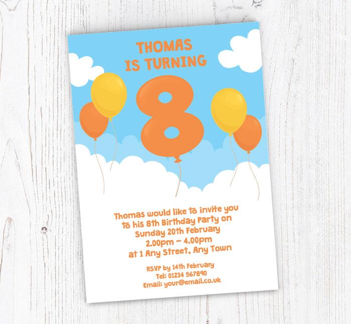 8th Birthday Balloon Party Invitations