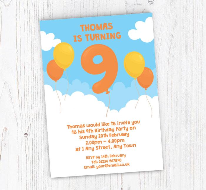 9th Birthday Balloon Party Invitations
