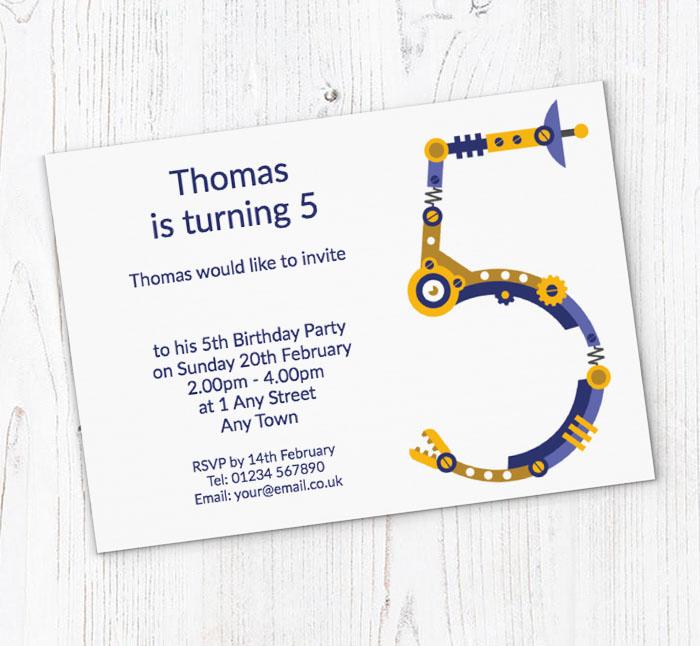 Robot 5th Birthday Party Invitations
